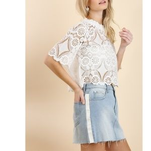 NWT Umgee White Lace Summer Crop Top M